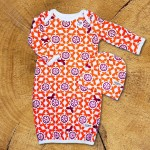 Butterflies NB Pajama Set / Orange Clementine & Magenta - 1