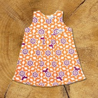 Sleeveless Dress / Orange Butterflies - 1